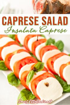 Quick, easy and delicious, this Italian caprese salad is perfect to serve as an appetizer or a side dish. Made with simple ingredients and finished with an olive oil and balsamic vinegar dressing, it's ready to serve in less than 10 minutes. This is without doubt my favorite salad ever! | Smart Little Cookie @smartlilcookie #easysaladrecipes #capresesalad #simplesummersalad #capreserecipes #dinnersalad #dinnerideas #saladinspiration #summersalad #italiansalad #smartlilcookie Quick Appetizers, Appetizer Recipes, Mother's Day Brunch Menu, Mothers Day Dinner, Eating Vegetables, Dinner Salads, Healthy Salad Recipes, Light Recipes, Side Dish Recipes