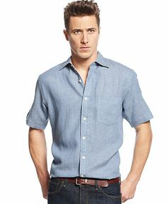 Club Room Short Sleeve Linen Blend Herringbone Shirt - Casual Button-Down Shirts - Men - Macy's