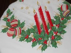 Mid Century Rectangle Christmas Tablecloth by audsdelightsvintage, $28.00