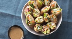 Shrimp and Kelp Noodle Spring Rolls with Almond-Tamarind Dipping Sauce
