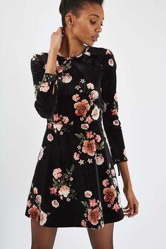 Topshop Floral Velvet Flippy Dress $75