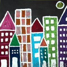 Kids Artists-- City Scape at Night