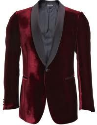 My honey once bought me a classic, deep-red (maroon?) vintage Eaton's smoking jacket like this one for Valentines day after I admired it in an antique store. It's from the 1940's and too good to wear very often  -from styleb.co.uk