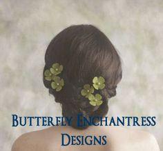 Burlap Wedding Flowers, Rustic Woodland Hair Accessories, Bridal Hair Flowers - 6 Lime Green Burlap Hydrangea Flower Hair Pins