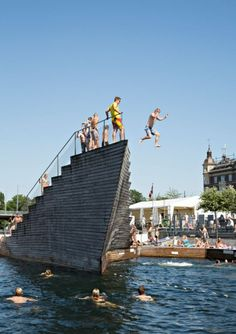 Watch out below! The jump-off deck at Islands Brygge, one of the Harbour Baths.