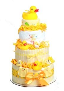 ducky baby gift tower | Duck diaper cake-Neutral baby gifts-baby shower diaper cakes