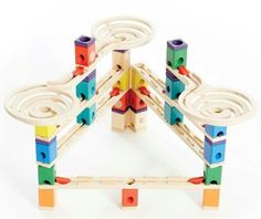 The Hape Vertigo marble run is a dizzying, daring, lightning-fast Quadrilla wooden marble run that includes three twisting funnels for a whirlwind ride. - Quadrilla Marble Run Wooden Marble Run, Marble Maze, Marble Runs, Vertigo, Brio Bahn, Marble Tracks, Hape Toys, Stacking Blocks, Cause And Effect