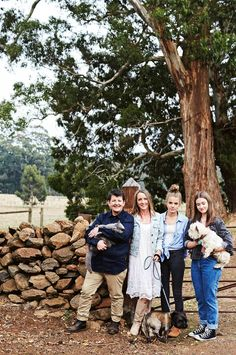 Chef Annie Smithers with partner Susan and daughters Amelie and Hannah-Rose. Cairn terrier Tommy is on the lead Australian Farm, Hannah Rose, Cairn Terrier, Farms Living, Farm Gardens, Farm Animals, Annie, Victoria, The Incredibles