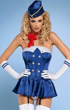 Obsessive Stewardess corset kostium Seksowny, 6-częściowy kostium - wszyscy na pokład!