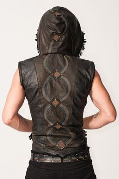 Checkout the great deal on Anahata Designs Mens Rainbow Serpent Leather Jacket's at Delicious Boutique & Corseterie Burning Man Outfits, Burning Man Fashion, Mode Cyberpunk, Rainbow Serpent, Festival Gear, Festival Fashion, Leather Vest, Leather Armor, Leather Jackets