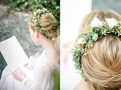 Green and white flower crown - romantic vintage wedding inspiration // Mademoiselle Fee // The Natural Wedding Company White Flower Crown, White Flowers, Red Wedding Flowers, Wedding Company, Flower Crowns, Wedding Venues, Wedding Inspiration, Romantic, Bride