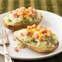 Double-Cheese Potatoes with Ham Recipe     WWP+5   (These are really good...one of my favorite WW recipes...can be made with pork or chicken...will make many times