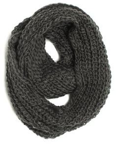 ForeverScarf Thick Knitted Solid Infinity Loop Scarf, Dark Grey:Amazon:Clothing