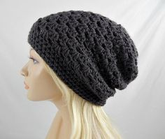 Dark Grey Slouchy Beanie Womens Crochet by trickystitchcrochet