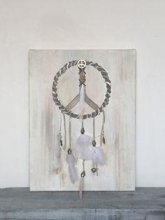 Dreamcatcher schilderij  Bewerkt met veren en kralen. Handmade... www.baronessa.nl