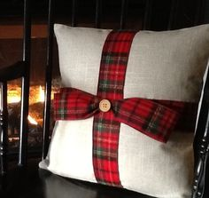 Items similar to Christmas pillow. Bow Pillows, Plaid Throw Pillows, Memory Pillows, Fall Pillows, Rustic Pillows, Cabin Christmas, Christmas Sewing, Plaid Christmas, Christmas Crafts