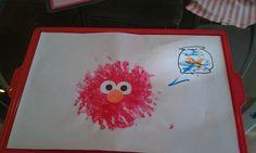 Hand print Elmo with a thumb print Dorothy!