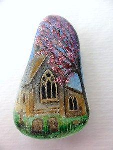Tiny painting on perfect frosted sea glass - inspired by a pretty little church in Wiltshire, England