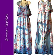 "Princess Vera Wang maxi dress light blue sz L; XL NWT Princess Vera Wang strappy maxi dress light blue with hot pink, dark purple, and other colors in floral design.  Material is sheer with light blue lining. Dress has 2 high slits in the front with a sheer ""lampshade"" layer on top. It's a Juniors size Large and XL. Length measures about 58"" from top of strap to bottom of dress for both, 18"" bust lying flat for Large, and 19"" bust lying flat for XL. Bundle 2 or more items for a 10% discount…"