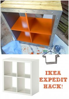 Check out this recent IKEA HACK. I converted the EXPEDIT cube to a stylish industrial clothes storage.