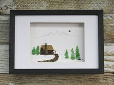 "Original Pebble Art Design,""Log Cabin"",Sea Glass Art,Pebble Art,Fathers Day Gift,Unique Gift,Home Decor,OOAK,Art by M.McGuinness!"