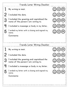 Elegant Friendly Letter Template With Examples And Rubric (checklist)