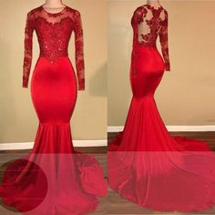 Scoop Neck Lace Mermaid African Prom dresses red Long Formal Evening Dresses Scoop Neck Lace M Mermaid Prom Dresses Lace, Prom Girl Dresses, Prom Dresses Long With Sleeves, Beaded Prom Dress, Lace Mermaid, Dress Prom, Long Dresses, Prom Gowns, Chiffon Dresses