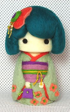 Felted kokeshi doll by Yu Yu