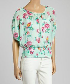 Another great find on #zulily! Mint Floral Smocked Blouson Top by MOA Collection #zulilyfinds
