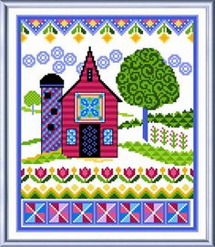 Spring Barn with Quilts - cross stitch pattern designed by Ursula Michael. Category: Farm.