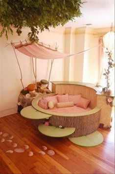 Breathtaking Kids' Bedroom Decorated with Fairytale Themes : Beautiful Fairy Bedroom Design With Wooden Bed Design On Grey And Green Color D. Awesome Bedrooms, Cool Rooms, Beautiful Bedrooms, Awesome Beds, Kids Bed Design, Kids Bedroom Designs, Bed Designs, Playroom Design, Design Room