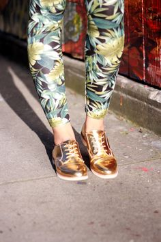 Foliage leggings and metallic oxfords