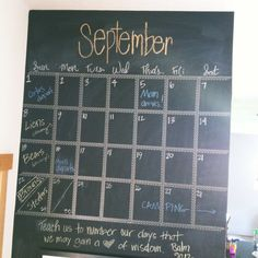Make a calendar on your chalkboard wall with washi tape.