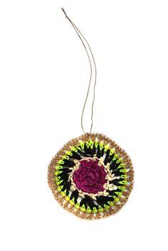 Rwanda-made filigree ornament ~ neon/black