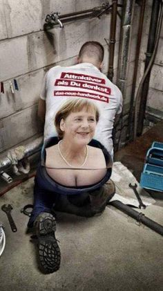 Plumber T-shirt with Angel Merkel Funny Shit, Funny Jokes, Hilarious, Funny Stuff, Memes Humor, Man Humor, Funny Images, Funny Photos, Laugh Out Loud