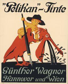 """Markenzeichen Pelikan. Siegmund von Suchodolski (1875 Weimar – 1935 München). - """"Pelikan""""-Tinte Günther Wagner Hannover und Wien. - Hannover um 1909"""