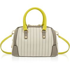 Henri Bendel Centennial Stripe Small Perforated Barrel ($378) ❤ liked on Polyvore