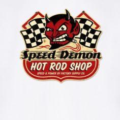 Speed Demon Hot Rod Shop Vintage Distressed Logo Speed Racer Motor Sport Red Devil Checkered Flags T Shirt