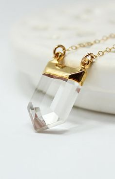 Long Crystal Quartz Necklace Gold Ice