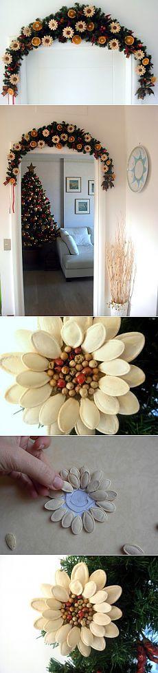 Идея праздничного декора из тыквенных семечек.