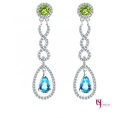 Peridot Blue Topaz Dangle 2.80 Carat Round Cut Diamond Earrings 14k White Gold