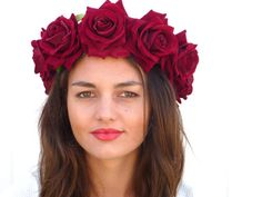 Deep Red Flower Crown by BlackSwanFeather on Etsy Red Flower Crown, Red Flowers, Flower Headpiece, Deep, Trending Outfits, Rose, Floral, Hair, Carnival