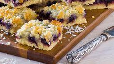 Glutenfria blåbärsrutor Fika, Biryani, Sushi, Cheesecake, Snack Recipes, Gluten Free, Baking, Sweet, Ethnic Recipes