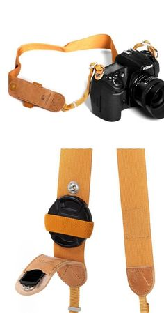 Camera Case - Tyler Camera Strap with a lens cap holder Camera Accessories, Leather Accessories, Leather Tooling, Leather Bag, Camera Case, Camera Gear, Camera Hacks, Accessoires Photo, Camera Straps