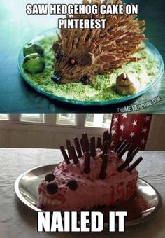 Bahaha idk why anyone would ever make a hedgehog cake lol but this is hilarious Foto Fails, Funny Fails, Funny Memes, Funny Quotes, Memes Humor, Worst Memes, Funny Phrases, Funny Captions, Jokes Quotes