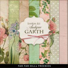 Far Far Hill: New Freebies Kit of Backgrounds - Antique Garth
