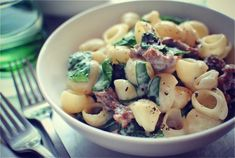 Creamy Italian sausage and spinach pasta.