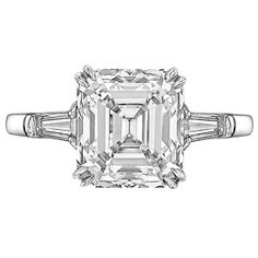 3.78 Carat Emerald-Cut Diamond Engagement Ring | From a unique collection of vintage engagement rings at https://www.1stdibs.com/jewelry/rings/engagement-rings/