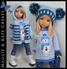 "* Blue Winter * Outfit for Little Darlings Effner 13"" by Maggie & Kate Create"