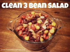 Need a quick and easy protein-packed salad to make for your next get together? This one is simple and takes just minutes. #recipe #beans #protein #diet #healthy #heandsheeatclean